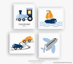 Transportation Nursery Art Print Set Train by PitterPatterPrint