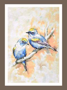 Blue Birds    Art Print of Original Watercolor Painting by ARTRIDE, $18.00