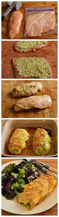 The PERFECT Baked Chicken Breast . Super Easy Recipe Stuffed With Pesto and Cheese. This Is Seriously So Good!