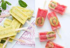 Picolé de Abacaxi - 85kcal -  4 rodelas de polpa de abacaxi 1 xícara de água 10 folhas de hortelã Gengibre a gosto Modo de fazer: Liquidifique, colocar as folhas de hortelã e congelar!   Picolé acelera metabolismo -78kcal -  2 fatias grandes de melancia com sementes 1 xícara (chá) hibisco com gengibre 1 colher (café) de canela 1 kiwi para decorar Modo de preparo: Separe o kiwi na forma e já leve ao congelador. Liquidifique todos os ingredientes. Despeje o suco na forma com o kiwi e congele.
