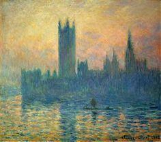 Claude Monet, Le Parlement de Londres, soleil couchant, 1903, huile sur toile, 81.3 × 92.5 cm, National Gallery of Art, Washington, D.C. Source: Wikipedia. Licence: Réutilisation autorisée sans but commercial.