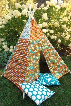 Child Toddler Kid's Play Teepee/Tent Hideaway in Ready Set Go By Ann Kelle for Robert Kaufman Organic Cotton