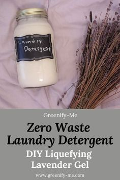 Zero Waste Laundry Detergent: DIY Liquefying Lavender Gel - Looking for some zero waste laundry detergent? This DIY liquefying lavender gel will get the job done. Just one batch of this gel can make 3 and a half jars full of liquid detergent, if not more. Plus, it
