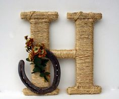 Rustic Wrapped Letter H, Country decor, Twine wrapped letter, Horseshoe decor, Rustic Home Decor from Dreamers Gifts. Saved to DreamersGifts. Western Crafts, Country Crafts, Country Decor, Rustic Decor, Country Homes, Country Living, Horseshoe Projects, Horseshoe Crafts, Horseshoe Art