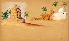 Djerba 1951 aquarelle  © Marcel Pétron -  #MarcelPetron