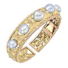 18k Gold & Baroque Pearl Foliate Cuff Bracelet