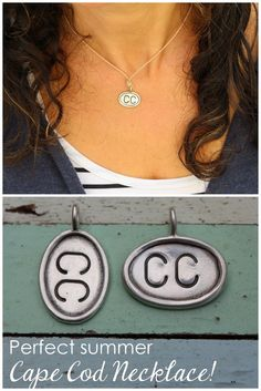 My go to Necklace this summer! CC is for Cape Cod. Make up your own charm for your special place! ACK - for Nantucket, MV for Martha's Vineyard, etc! Martha's Vineyard, Nantucket, Cape Cod, Hand Stamped, Diy Jewelry, Make Up, Charmed, Shop, Summer
