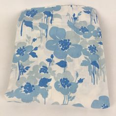 VTG Full Flat Bed Sheet Pepperell Muslin Blue Abstract Mod Floral Fabric Cutter #LadyPepperell #MidCenturyModernAbstract