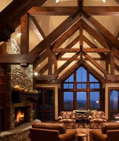 Lodge style, wood beamed ceiling, mountain home