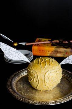 Celebrating Harry Potter's birthday w/ this Golden Snitch Cake via @Melinda Novak (cooking ala mel)!