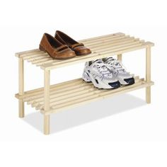 These natural wood household shelves by Whitmor are not only stylish but functional as well. They can be used in closets, dorm rooms, laundry rooms, or anywhere you need a little extra storage space. They feature an easy no tool assembly for fast setup. Shoe Rack Organization, Shoe Storage Cabinet, Bench With Shoe Storage, Shoe Organizer, Storage Shelves, Closet Storage, Closet Shelves, Bamboo Shoe Rack, Wood Shoe Rack