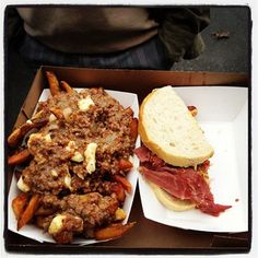 Smoked Meat Poutine and Sandwich from Caplansky's