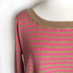 """Gap Eversoft Striped Circle Hem Sweater Pink and tan striped soft knit sweater with ribbed trim. Wide scoop neckline with dropped shoulder sleeves. Curved circle hem is longer in back. Tapered silhouette with an oversized fit. 56% nylon; 29% wool; 15% acrylic. Machine wash. Size Small. Bust: 21"""" flat across. Length: 23"""" front; 27"""" back. EUC. Thanks for looking! GAP Sweaters Crew & Scoop Necks"""
