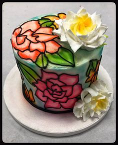 Stain Glass Floral Cake!🌼 Floral Cake, Custom Cakes, Cake Decorating, Birthdays, Glass, Party, Desserts, Food, Personalized Cakes