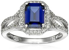 Sterling Silver Created Ceylon Sapphire and Diamond Octagon Ring (0.3cttw, I-J Color, I3 Clarity), Size 7 >>> You can find out more details at the link of the image.