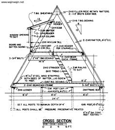 30 free cabin plans for diy a-frame cabin drawing #amazmerizing