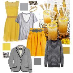 Rainy day grey & honey mustard yellow #polyvore