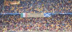 La resposta del Camp Nou a la UEFA: 'Welcome to Catalonia', enmig d'una mar d'estelades, 14.09.2016