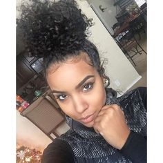 Curly Bun ❤ liked on Polyvore featuring beauty products, haircare, hair styling tools, hair and curly hair care