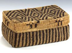 Africa | Basketry Container from the Kasai region of DR Congo; possibly Shoowa People | First half 20th century | Raffia fiber, bent cane; embroidery and knotting technique