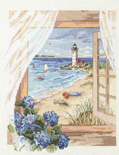 I love beach scenes! This is one of our Kooler Design cross stitch kits for Janlynn....one of many 'through the window' scenes.