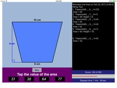 Perimeter & Area   Practice & Share Math Apps
