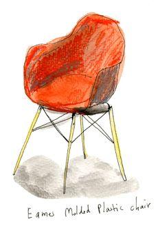Eames molded plastic chair by illustrator Elizabeth Graeber. Love!