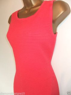 Karen Millen Pink Ripple Stitch Bandage Knit Bodycon Dress