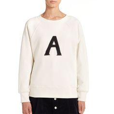 Alexa Chung for AG The Scarlet Sweatshirt ($208) ❤ liked on Polyvore featuring tops, hoodies, sweatshirts, apparel & accessories, vintage white, crew-neck sweatshirts, sweatshirts hoodies, raglan top, long sweat shirts and cotton sweatshirt