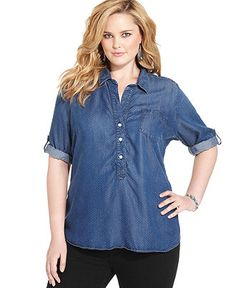 american rag plus size shirt, long-sleeve chambray studded