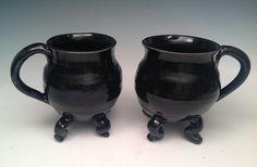 Pair of Curvy Cauldron Mugs Dancing Cauldron by BigSkyArtworks, $50.00 LOVE THESE!