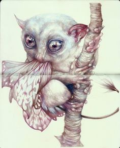 """Marco Mazzoni - """"The Butterflies Eater"""" 2012, colored pencils and ink on moleskine paper, cm 26x21"""