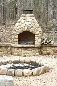 The fire pit at RambleRill Farm.