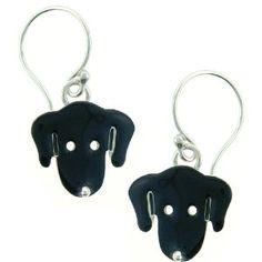 Black Lab Labrador Face Enamel & Silver Dangle Dog Earrings