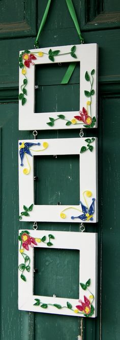 Quilled 3 Hanging Picture Frames  Fits by Cornbreadbottomstore, $30.00