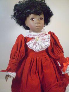 "Love Story Black African American Girl Doll Red Dress Porcelain Figure 15"""