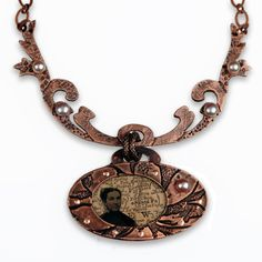 Copper clay pendant, with pearls, and mixed media, by Jonna Faulkner
