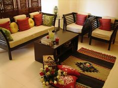 Diana Crasta Interiors: December 2012 - Amazing Homes Interior Wooden Sofa Designs, Wooden Sofa Set, Ethnic Home Decor, Indian Home Decor, Living Room Sofa Design, Living Room Designs, Home Decor Furniture, Furniture Design, Wooden Furniture