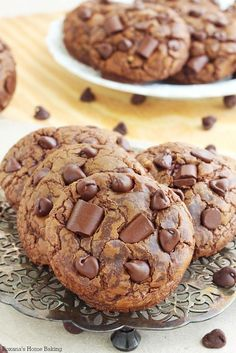 Soft and chewy triple chocolate fudge cookies recipe from Roxanashomebaking.com