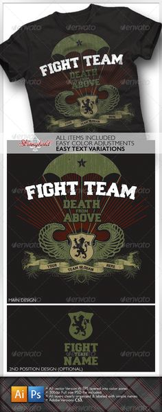 T-Shirts - Vintage Military Paratrooper Fight T-Shirt | GraphicRiver