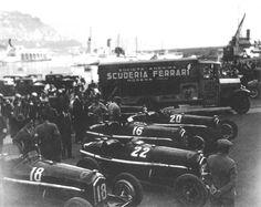 GP Monaco 1934 , Scuderia Ferrari , Alfa Romeo P3 #18 Driver Marcel Lehoux , #22 Driver Carlo Felice Trossi , #16 Driver Louis Chiron and #20 Driver Guy Moll.
