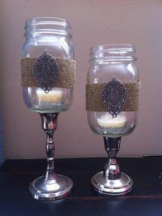 Rustic Romantic Mason Jar Candle Holders by RusticRoost on Etsy/  hey courtney these are cute