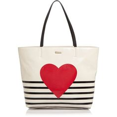 kate spade new york Yours Truly Heart Stripe Hallie Tote (1143110 PYG) ❤ liked on Polyvore featuring bags, handbags, tote bags, stripe tote, striped tote bags, kate spade tote bag, white handbag and handbags totes