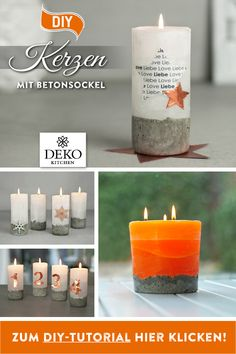 DIY: pour cool candles with concrete base - These stylish DIY advent candles impress with their cool concrete base, which is a real eye-catcher - Diy Candle Wick, Gel Candles, Advent Candles, Wood Wick Candles, Mason Jar Candles, Homemade Soy Candles, Candle Making Business, Soy Candle Making, Essential Oil Candles