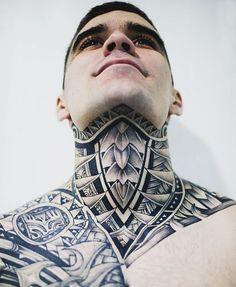Full Neck Tattoos, Neck Tattoo For Guys, Full Body Tattoo, Head Tattoos, Body Tattoos, Tattoos For Guys, Geometric Throat Tattoo, Tribal Hand Tattoos, Cute Elephant Tattoo