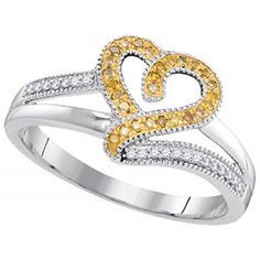 10kt White Gold Womens Round Yellow Colored Diamond Heart Love Fashion Ring (1/6 cttw.)