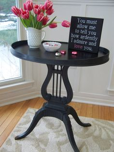 Lyre Table Painted Dark Grey With Black Stained Top by southofmain, $150.00