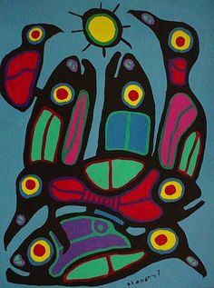 morrisseau - Google Search Group Art Projects, School Art Projects, South American Art, Native American Art, Arte Tribal, Charcoal Sketch, Bird Quilt, Indigenous Art, Aboriginal Art