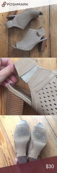 Madden girl Regarrd peep toe booties Only worn twice! In great condition. Elastic is slightly stretched but it's a Velcro closure so they are still wearable. Light tan color with eyelet and stacked heel Shoes Ankle Boots & Booties