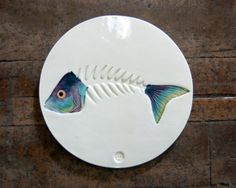 Father's Day Gifts: Fish Bone Art Skeleton Tile Handmade Ceramic by PatWarwickTiles, $80.00